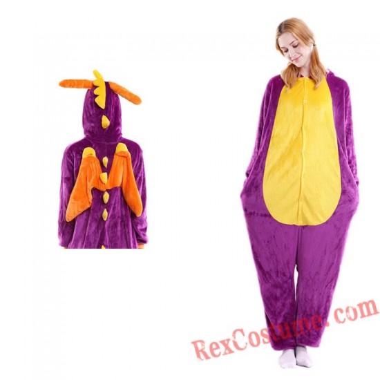 Adult Purple Dragon Kigurumi Onesie Pajamas Cosplay Costumes