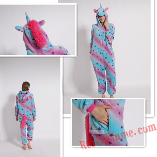 Adult Purple Star Unicorn Kigurumi Onesie Pajamas Cosplay Costumes