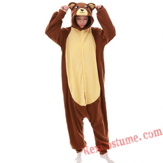 Adult Brown Bear Kigurumi Onesie Pajamas Cosplay Costumes
