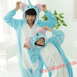 Adult Blue Elephant Kigurumi Onesie Pajamas Cosplay Costumes