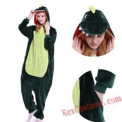 Adult Green Dinosaur Kigurumi Onesie Pajamas Cosplay Costumes