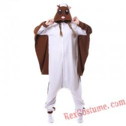 Adult Brown Flying Rat Kigurumi Onesie Pajamas Cosplay Costumes