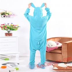 Adult Blue Rabbit Kigurumi Onesie Pajamas Cosplay Costumes
