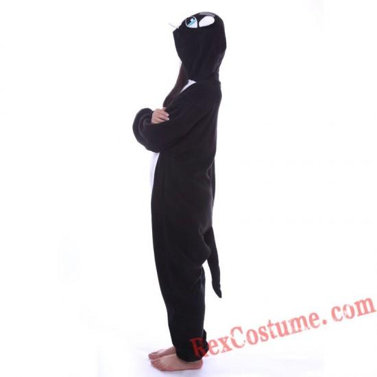 Adult Black Cat Kigurumi Onesie Pajamas Cosplay Costumes