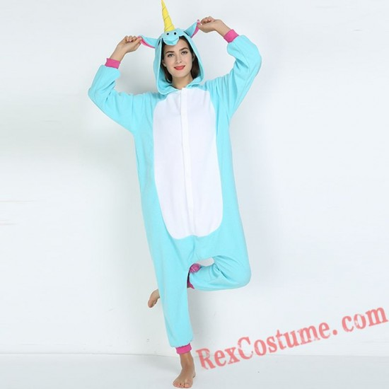Adult Blue Unicorn Kigurumi Onesie Pajamas Cosplay Costumes