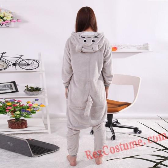 Adult Grey Totoro Kigurumi Onesie Pajamas Cosplay Costumes