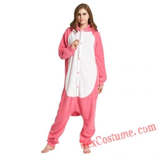 Adult Pink Whale Kigurumi Onesie Pajamas Cosplay Costumes