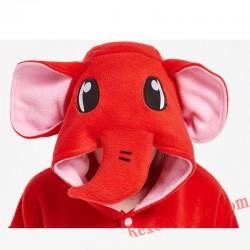 Adult Red Elephant Kigurumi Onesie Pajamas Cosplay Costumes