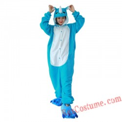 Adult Blue Rhinoceros Kigurumi Onesie Pajamas Cosplay Costumes