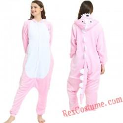 Adult Green & Pink Dinosaur Kigurumi Onesie Pajamas Cosplay Costumes