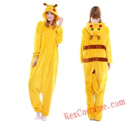 Adult Pikachu Kigurumi Onesie Pajamas Cosplay Costumes