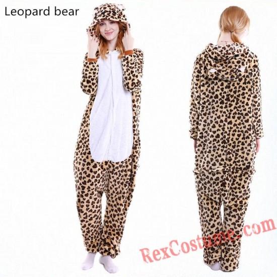 Adult Leopard Bear Kigurumi Onesie Pajamas Cosplay Costumes