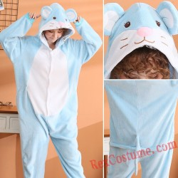 Adult Blue Mouse Kigurumi Onesie Pajamas Cosplay Costumes