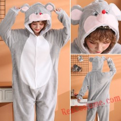 Adult Gray Mouse Kigurumi Onesie Pajamas Cosplay Costumes