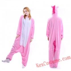 Adult Pink Unicorn Kigurumi Onesie Pajamas Cosplay Costumes