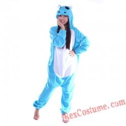 Adult Blue Hippo Kigurumi Onesie Pajamas Cosplay Costumes
