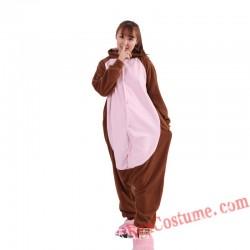 Adult Brown Monkey Kigurumi Onesie Pajamas Cosplay Costumes