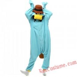 Adult Blue Platypus Kigurumi Onesie Pajamas Cosplay Costumes