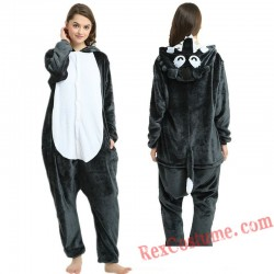 Adult Big Grey Wolf Kigurumi Onesie Pajamas Cosplay Costumes