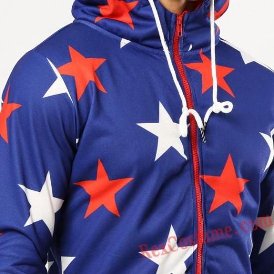 Men Star Onesies Pajamas Hoodie Home Wear