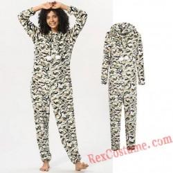 Women Camouflage Onesies Pajamas Hoodie Home Wear