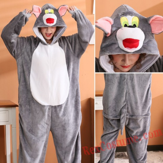 Tom Cat Kigurumi Onesie Pajamas Cosplay Costumes