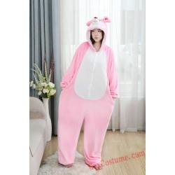 Pink Mouse Kigurumi Onesie Pajamas Cosplay Costumes