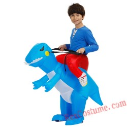 Boys Kids Bule Dinosaur Inflatable Costume