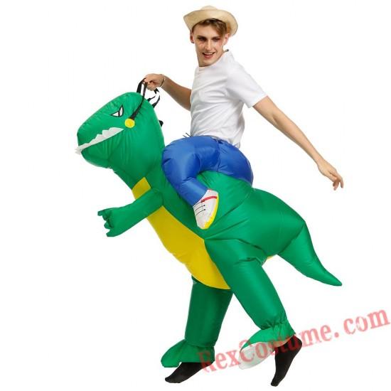Adult Green Dinosaur Costume Inflatable T REX Costume