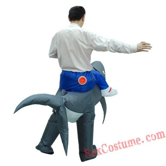 Adult Ride on Shark Inflatable Costume