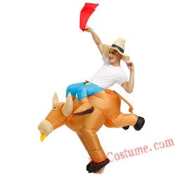 Adult Ride on Bull Inflatable Costume
