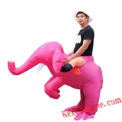 Adult Pink Elephant Ride On Inflatable Blow Up Costume