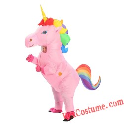 Adult Kids Unicorn Inflatable Blow Up Costume
