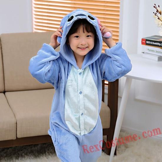 Blue Stitch Kigurumi Onesie Pajamas Cosplay Costumes for Kids