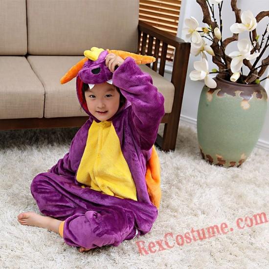 Purple dinosaur Kigurumi Onesie Pajamas Cosplay Costumes for Kids