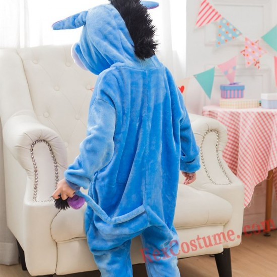 Blue donkey Kigurumi Onesie Pajamas Cosplay Costumes for Kids