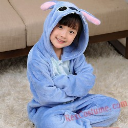 Blue Stitch Kigurumi Onesie Pajamas Cosplay Costumes for Kids
