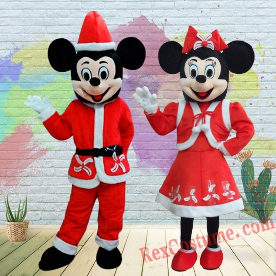 Christmas Disney Mickey Minnie Mouse Mascot Costume For Adults