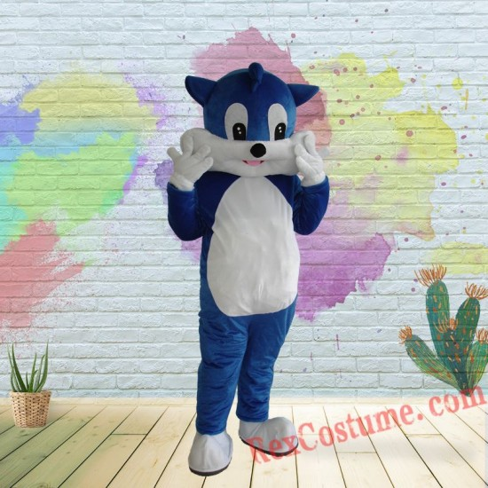 Blue Cat Mascot Costume For Adults