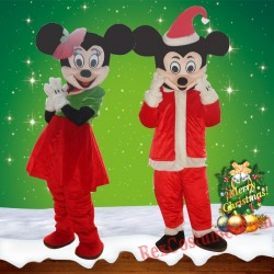 Christmas Mickey Minnie Mouse Mascot Costume For Adults