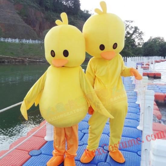 Yellow Duck Mascot Costume Cartoon Character