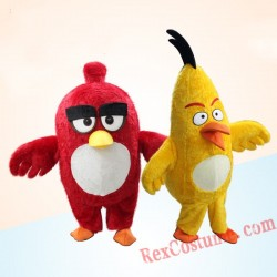 Crazy Red Yellow Bird Chuck Mascot Costume for Adult