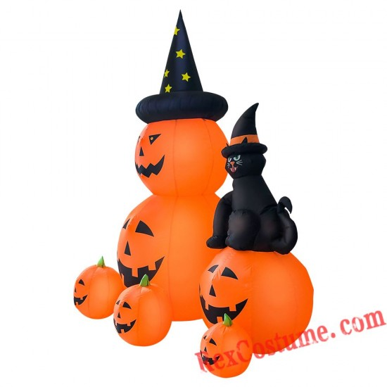Halloween Inflatable Pumpkin and Black Cat Blow Up Party Decor