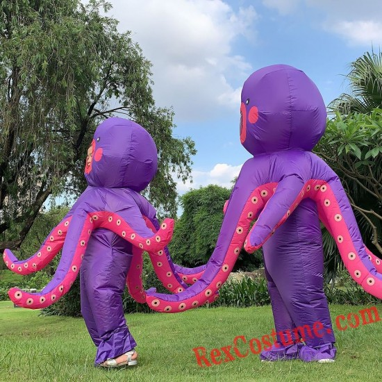 Adult / Kids Inflatable Octopus Costumes Blow Up
