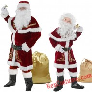 Christmas Santa Claus Costume Santa Suit Adults/ Kids