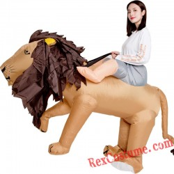 Brown Lion Ride On Inflatable Blow Up Costume