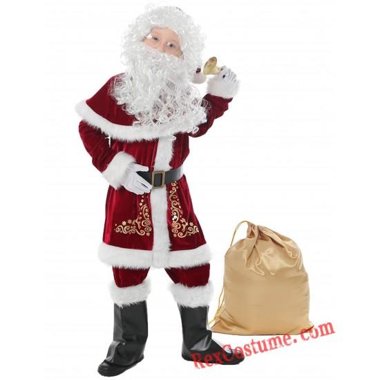 Christmas Santa Claus Costume Santa Suit Adults/ Kids