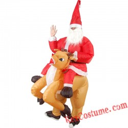 Deer Santa Ride On Inflatable Blow Up Costume