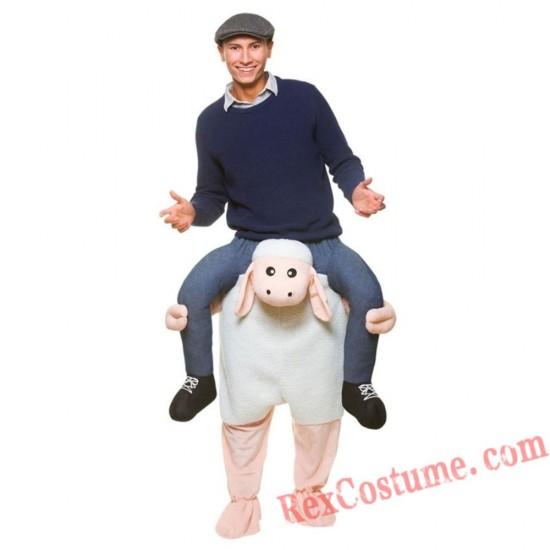 Adult Piggyback Ride On Carry Me Sheep Lamb Mascot costume