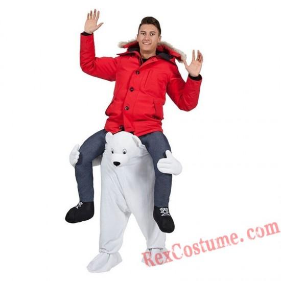 Adult Piggyback Ride On Carry Me White Polar Bear costume
